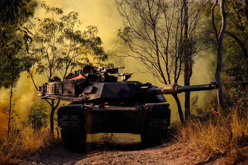 M1A1 Abrams tank in battle environment