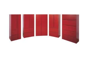 Invincible Furniture coated metal red cabinets
