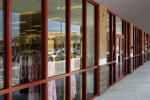 Retail space with coated exterior window frames